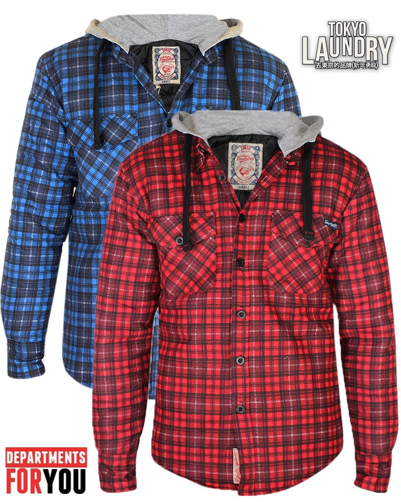 Mens shirts tokyo laundry lumberjack tartan check shirt for Mens slim fit flannel shirt
