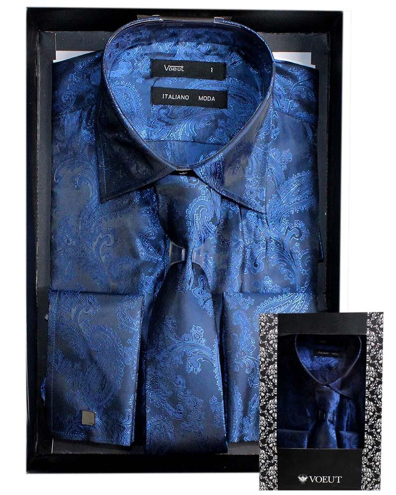 mens designer voeut slim fit cufflink formal shirt tie