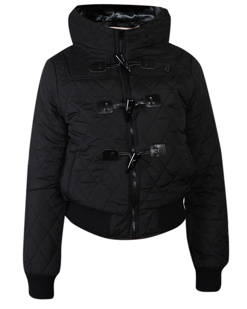 Kenneth Cole Short Padded Jacket with Faux Fur Hood in Black | Lyst