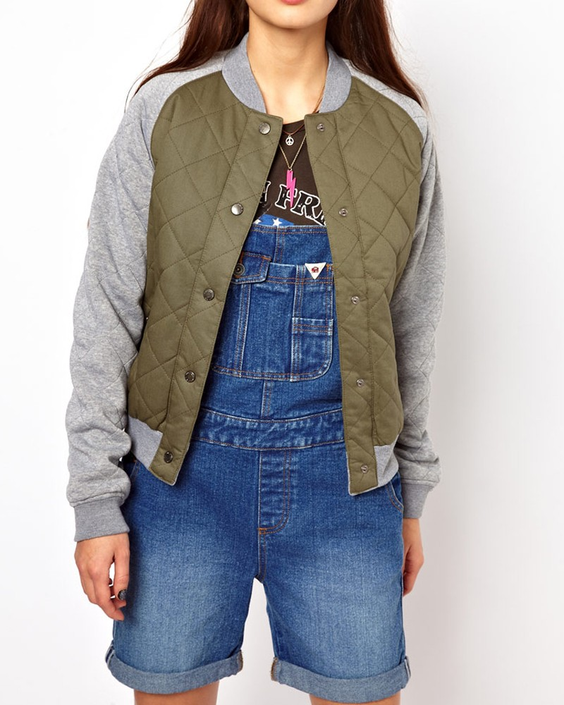 Bellfield-Womens-Quilted-Bomber-Jacket-Sweat-Sleeves-Quilted-Varsity