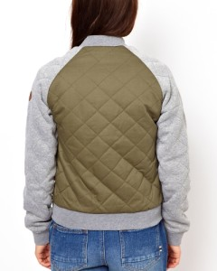 Bellfield Womens Quilted Bomber Jacket sweat Sleeves Quilted Varsity