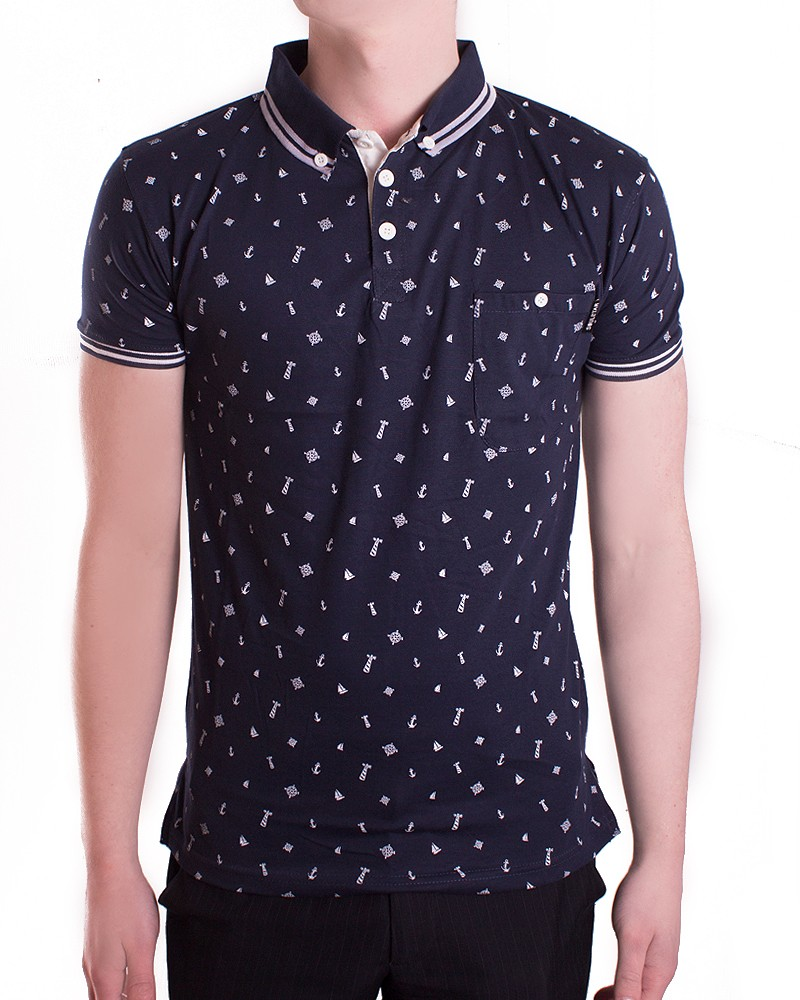 Mens Branded Anchor Polo Shirt Slim Fit Gents Designer