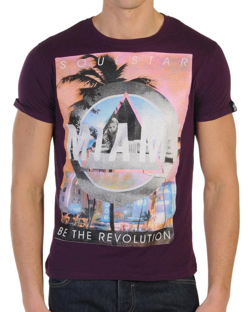Mens soul star miami colorfull graphic print t shirt party for T shirt printing miami fl