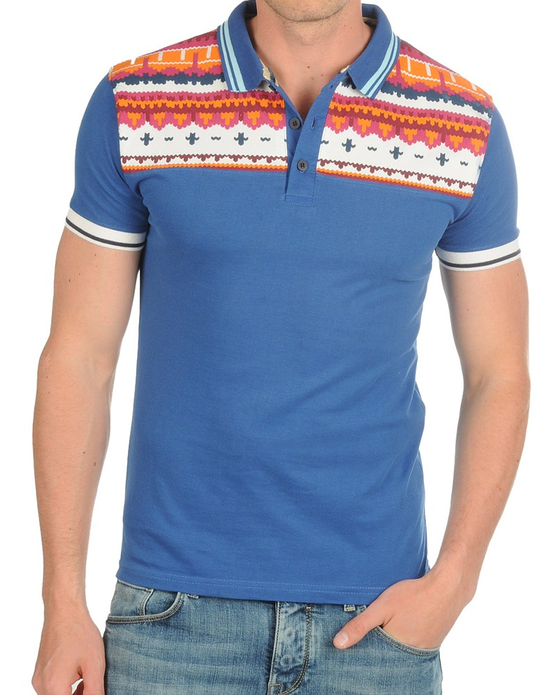 mens polo shirt soul star designer aztec print twin