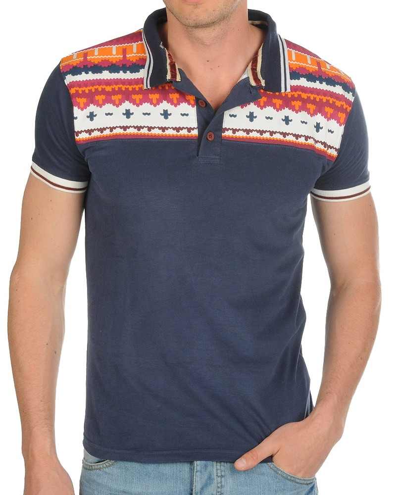 Mens polo shirt soul star designer aztec print twin for Mens slim polo shirts