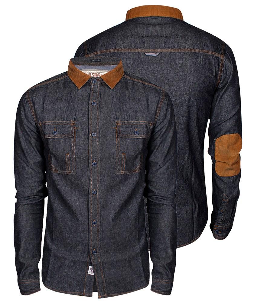 New mens slim fit denim shirt corduroy collar elbow for Jean button up shirt mens