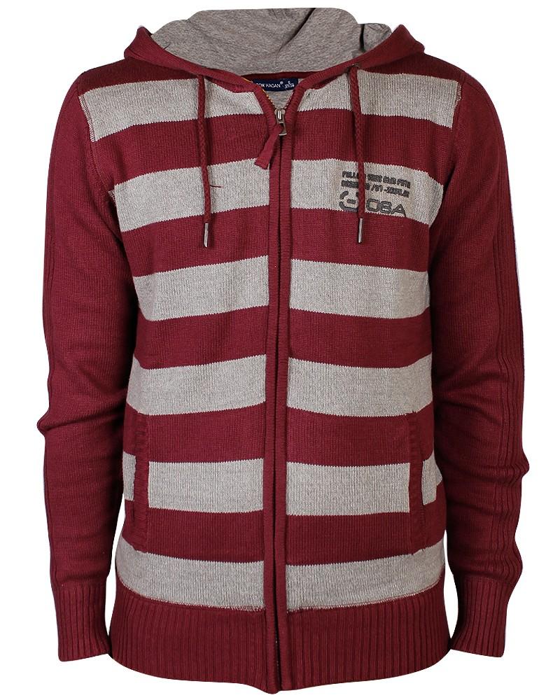 New-Mens-Stripes-Knitted-Hoodie-Warm-Block-Hooded-Jumper-Hoody-Knitwear