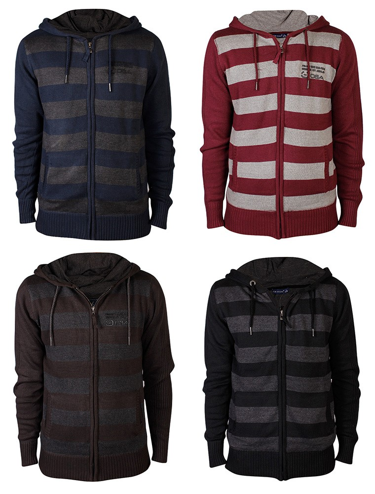 New-Mens-Stripes-Knitted-Hoodie-Warm-Block-Hooded-Jumper-Hoody