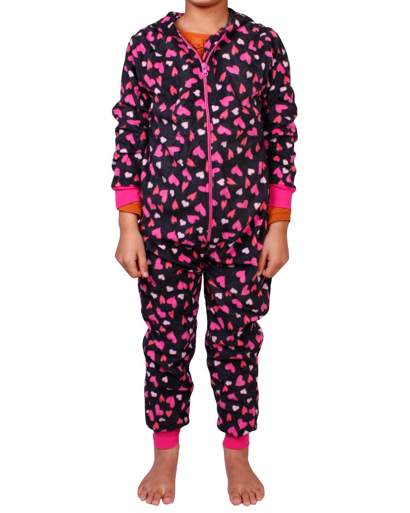 girls kids childrens onesie fleece all in one jumpsuit