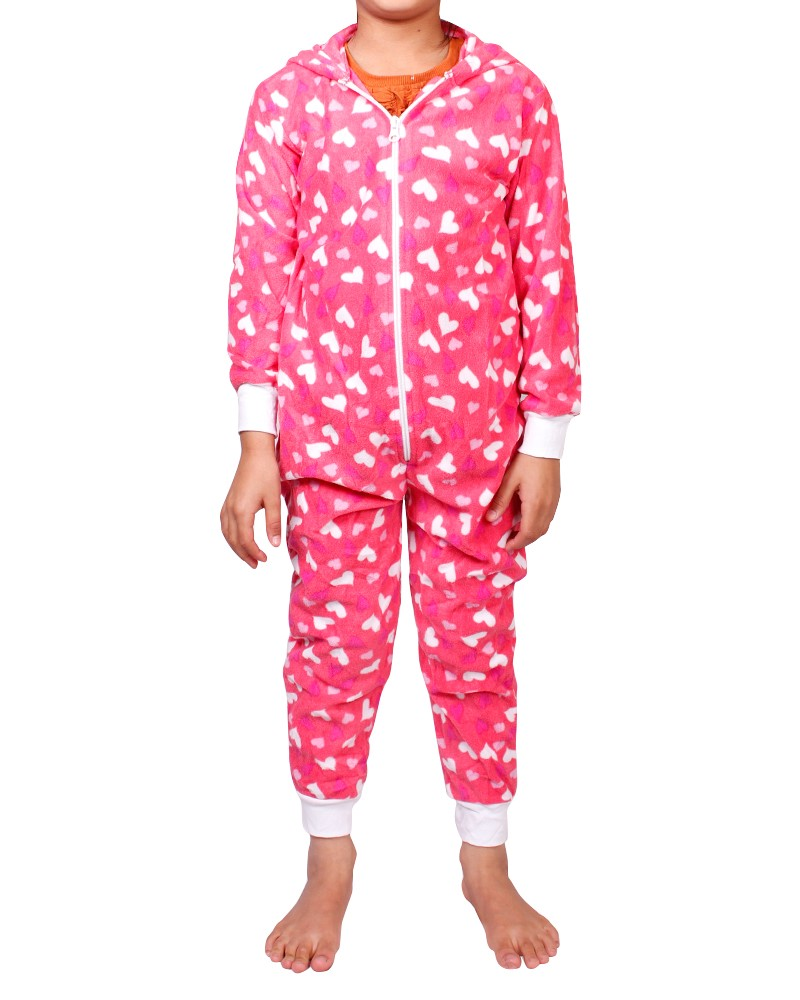 Girls Kids Childrens Onesie Fleece All In One Jumpsuit Hooded Playsuit Onesies | EBay