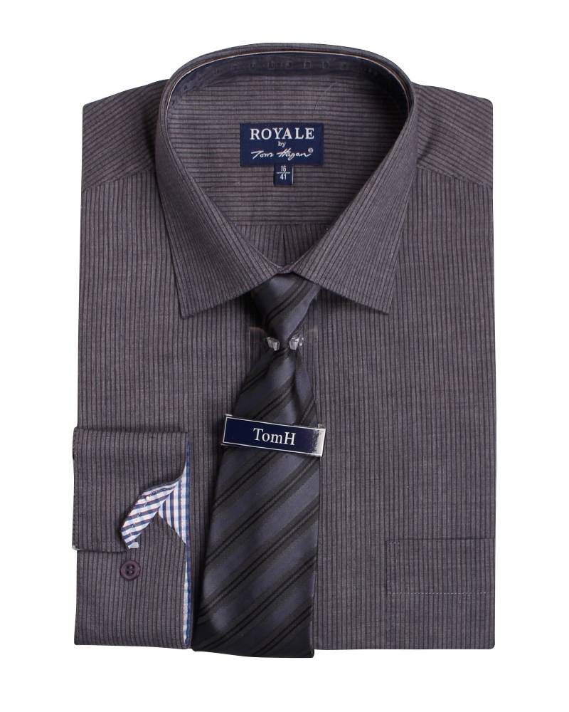 mens boxed shirt and tie set tom hagan striped formal