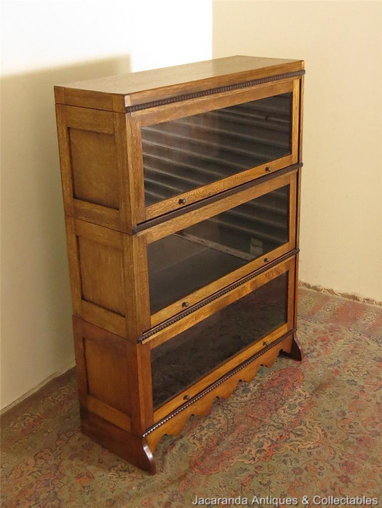 Antique BEARD WATSON Maple Solicitors 3 tiered Bookcase