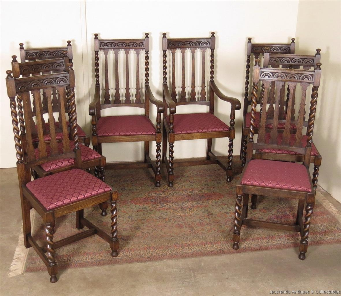 antique oak jacobean dining chairs set of 8 with 2 carvers