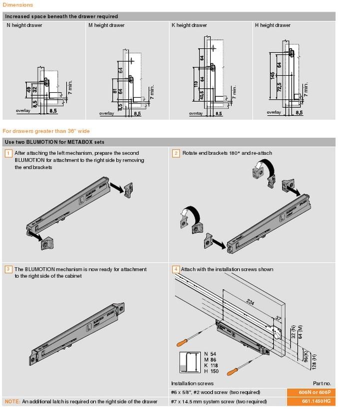 Доводчик blumotion для ящиков metabox схема установки