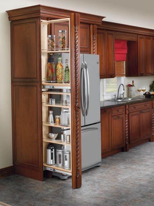 rev a shelf filler pullout organizer w wood adjustable shelves tall pantry acc ebay. Black Bedroom Furniture Sets. Home Design Ideas