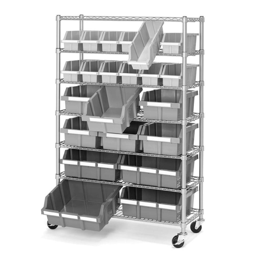 7 shelf 22 bin rack storage shelving rolling wheels. Black Bedroom Furniture Sets. Home Design Ideas