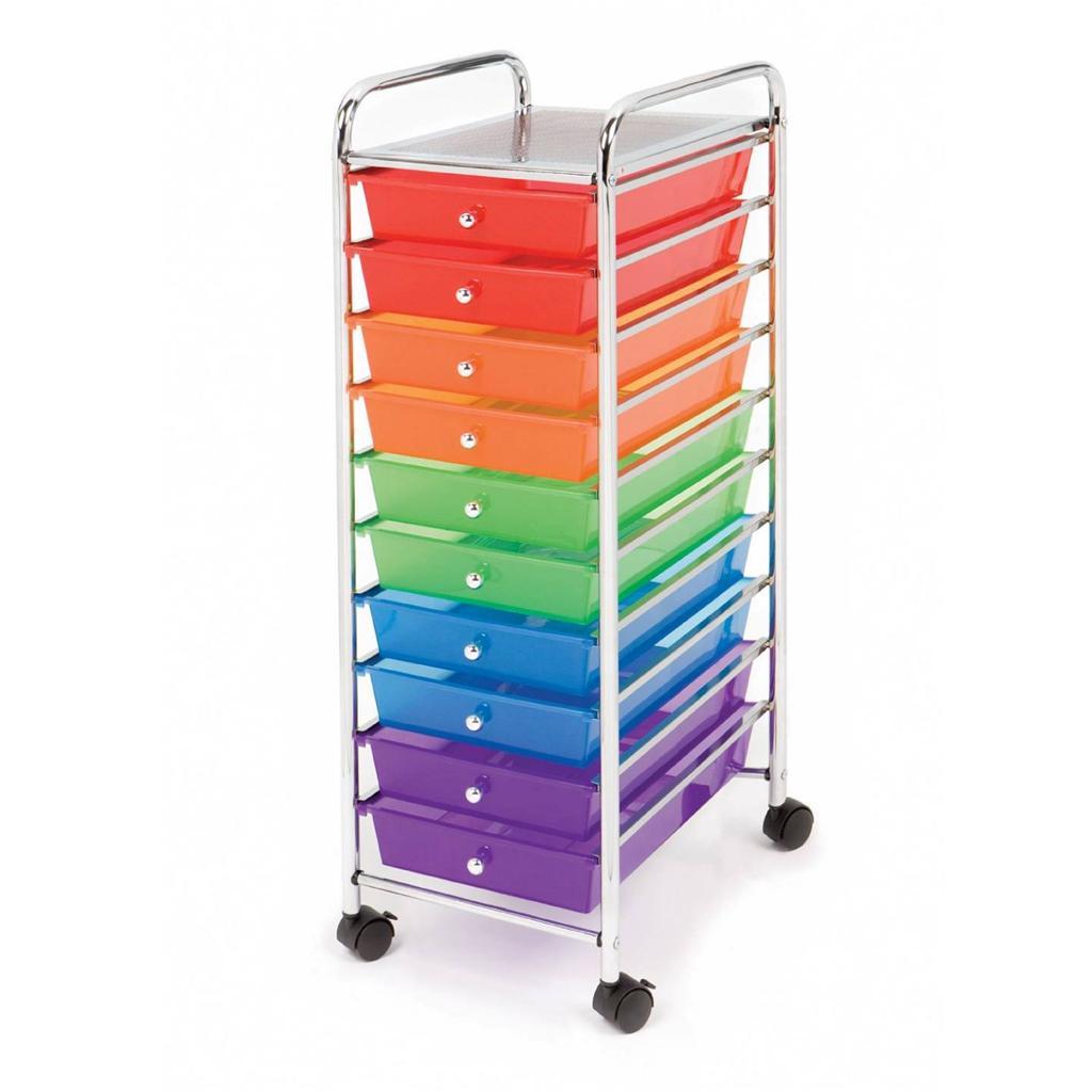 seville 10 multi color drawer rolling cart storage daycare school home office. Black Bedroom Furniture Sets. Home Design Ideas
