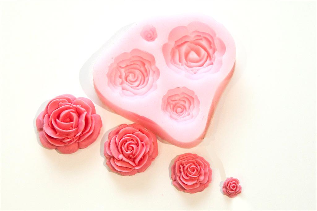 Cake Decorations Flowers Uk : 4 Size Roses Flower Silicone Mould Sugarcraft, Cake ...