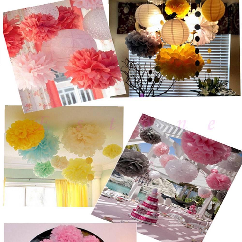 wedding party hanging tissue paper pom pom lantern decoration balls mixed sizes ebay. Black Bedroom Furniture Sets. Home Design Ideas