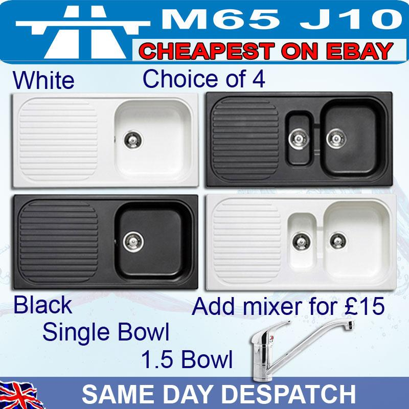 Black Or White Coloured Kitchen Sink Single One And Half