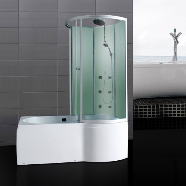 P Shaped Shower Bath With Massage Jets Glass