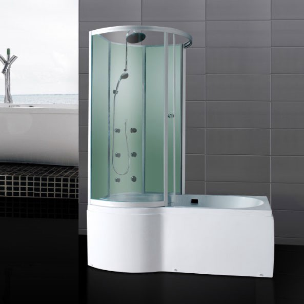 p shaped shower bath with massage jets glass enclosure
