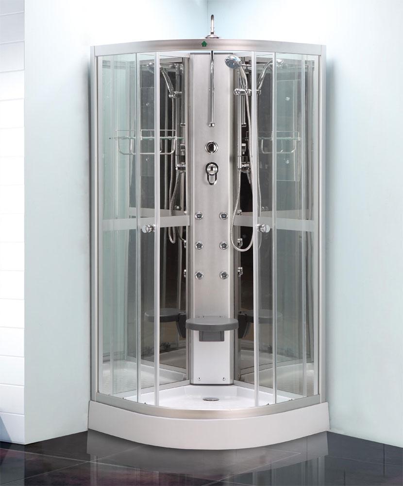 Quadrant shower enclosure all in one pod mixer valve tray waste ...