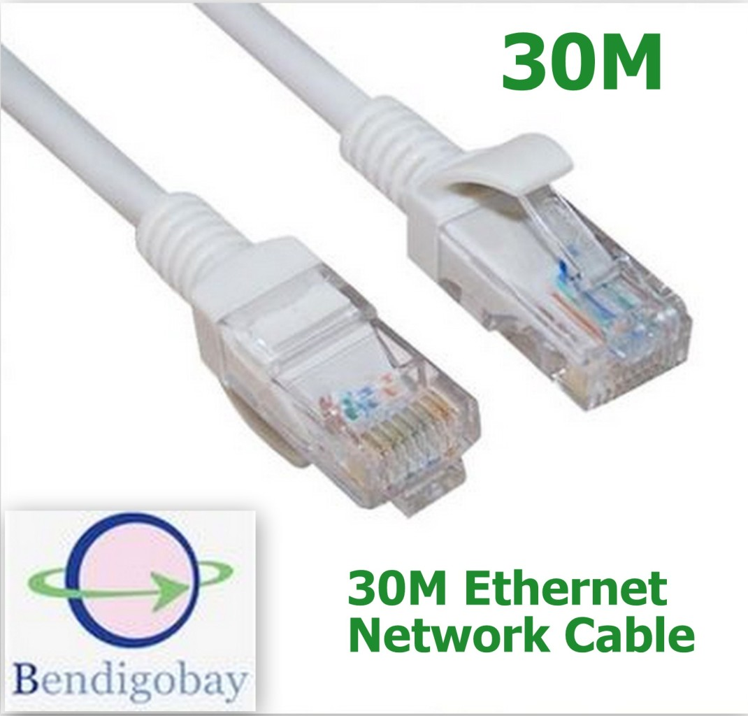 30m cat5 ethernet lan network cable lead for networking ps3 ps4 xbox 360 one ebay. Black Bedroom Furniture Sets. Home Design Ideas