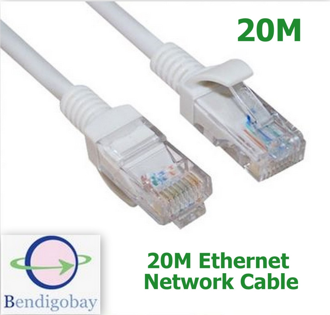 20m rj45 cat5 ethernet lan network cable lead for networking router ps3 xbox 360 ebay. Black Bedroom Furniture Sets. Home Design Ideas