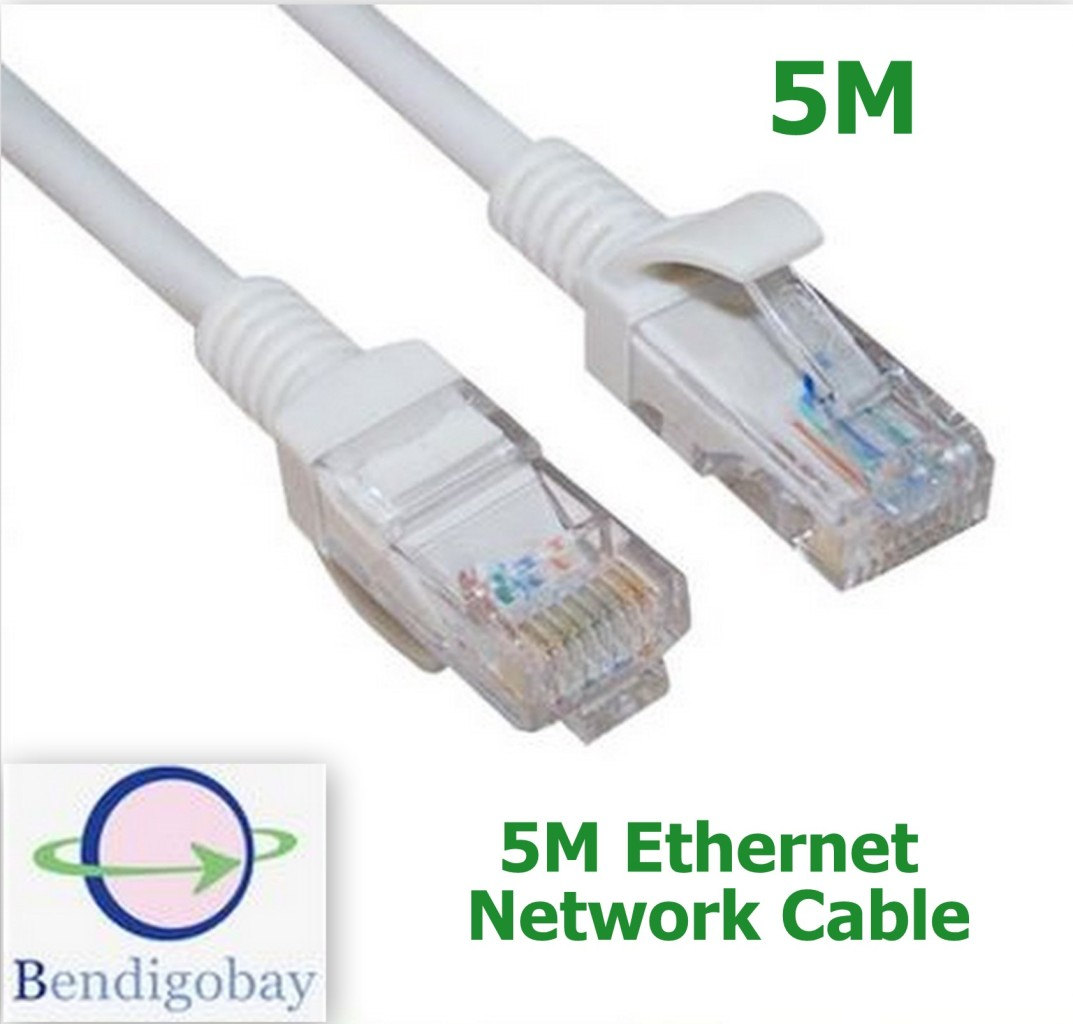 5m rj45 cat5 ethernet lan network cable lead for networking router ps3 xbox 360 ebay. Black Bedroom Furniture Sets. Home Design Ideas