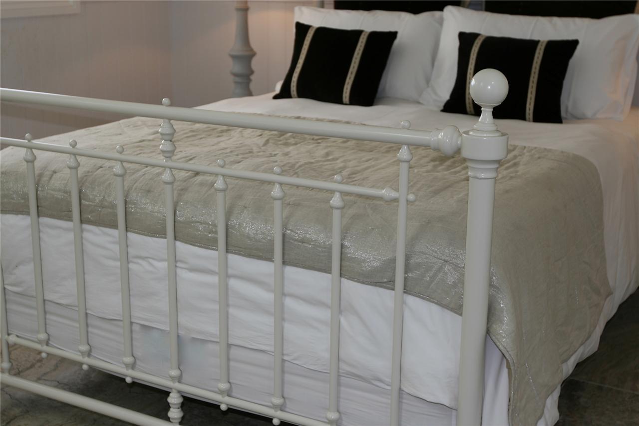 King size bed frame ivory metal bed frame brand new bed for King metal bed frame