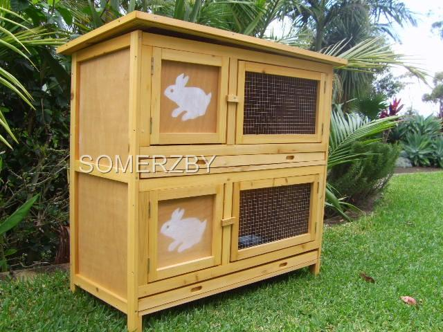 Rabbit-Guinea-Pig-Hutch-Cage-DOUBLE-Storey-2-Levels-Quality-Fir-Wood-Metal-Tray