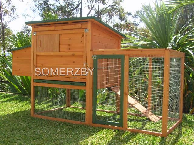 Chicken-Coop-Somerzby-BUNGALOW-Rabbit-Hutch-Guinea-Pig-Cage-Run-House-pet-hen