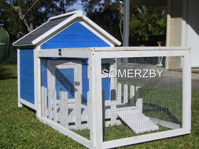 RABBIT-GUINEA-PIG-HUTCH-CAGE-RUN-COOP-COTTAGE-DARK-BLUE-and-WHITE-Great-gift