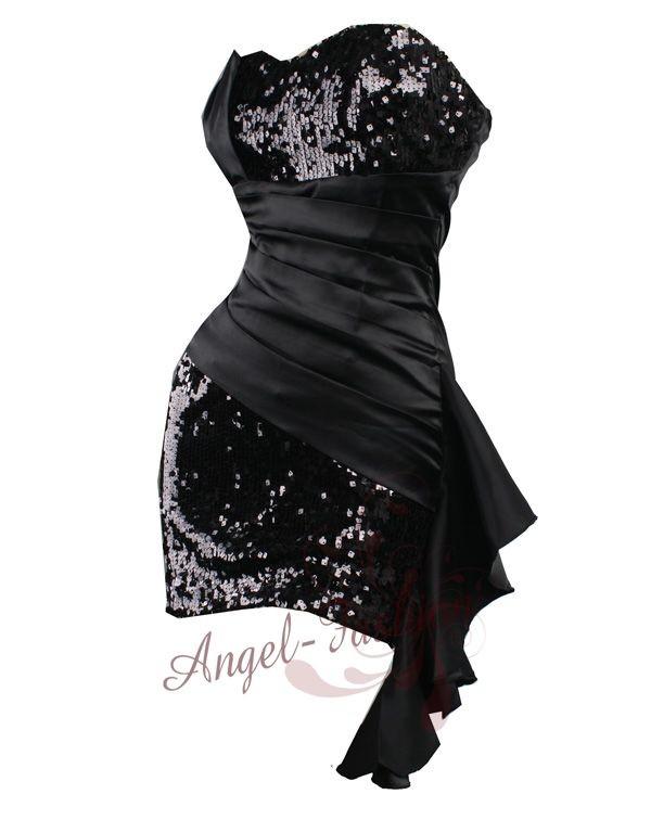 Sequins-Pleated-Waist-Flounce-Belt-Strapless-Clubwear-Dresses-S-M-L-XL-Black