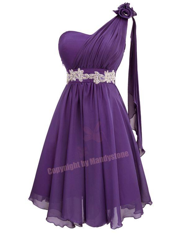 Sexy Chiffon Applique Flower One Shoulder Curves Belt Party Dresses S M L 16