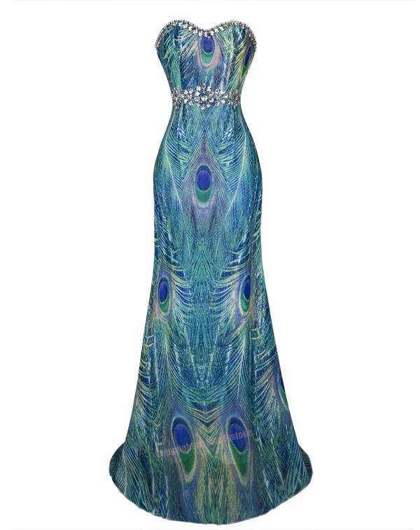 Fashion-Peacock-Feather-Rhinestone-Maxi-Evening-Party-Dress-S-M-L-XL-18-Green