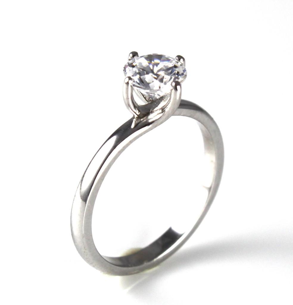 unique solid silver rhodium platinum engagement