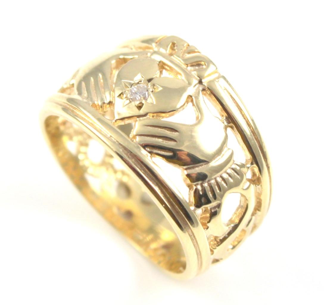 claddagh ring 9ct gold diamond full band ebay. Black Bedroom Furniture Sets. Home Design Ideas