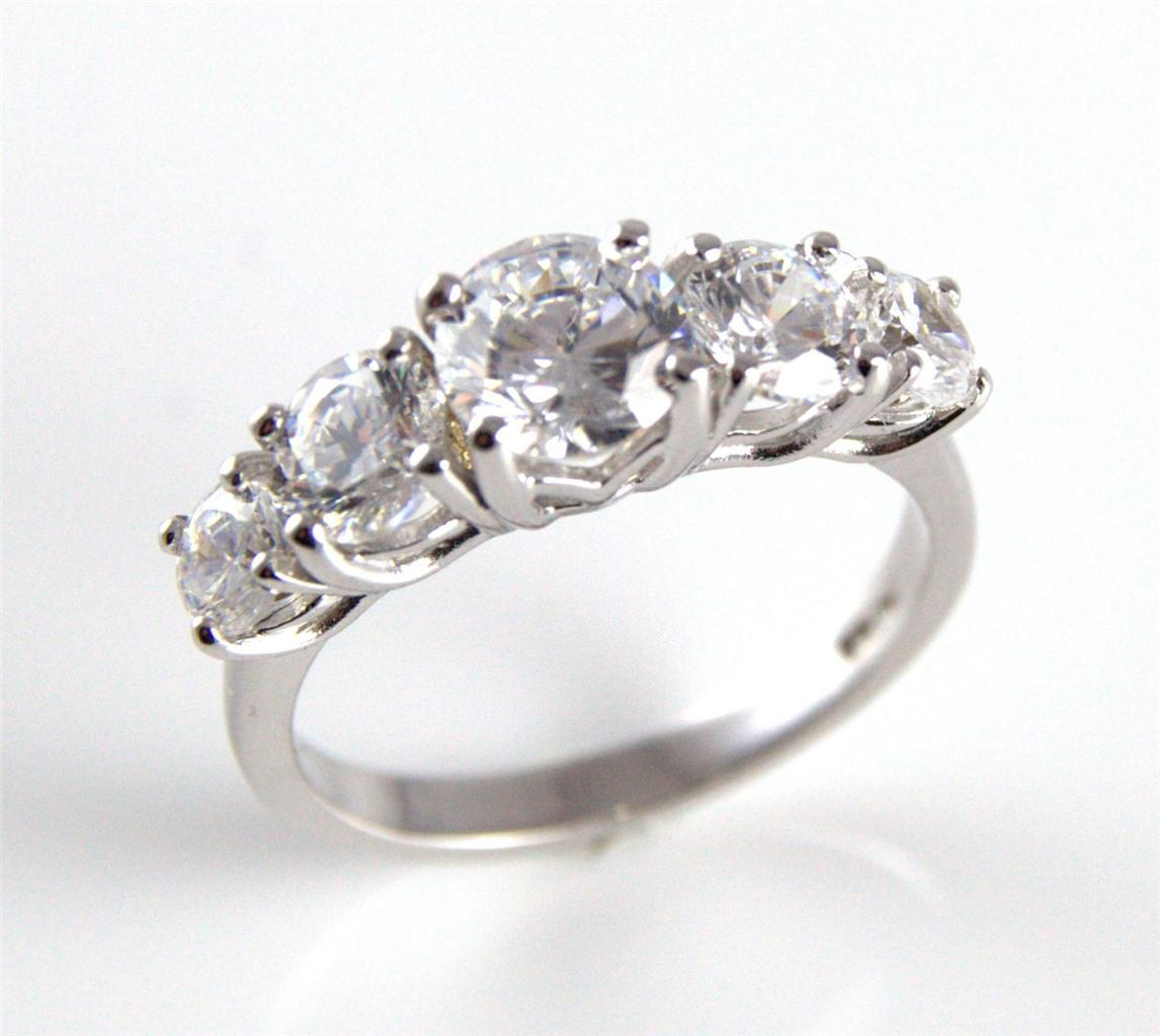 Diamond Unique Five Stone Engagement Ring 9ct Gold 2 5ct