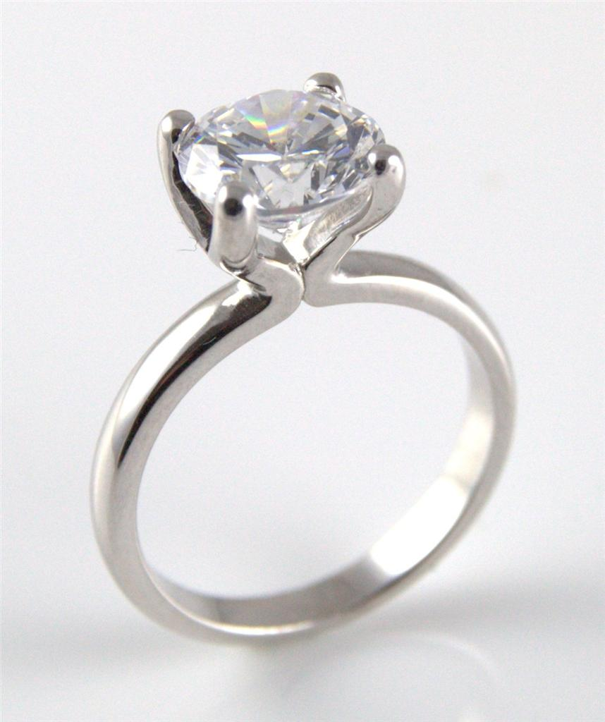 unique 3ct solitaire engagement ring solid silver