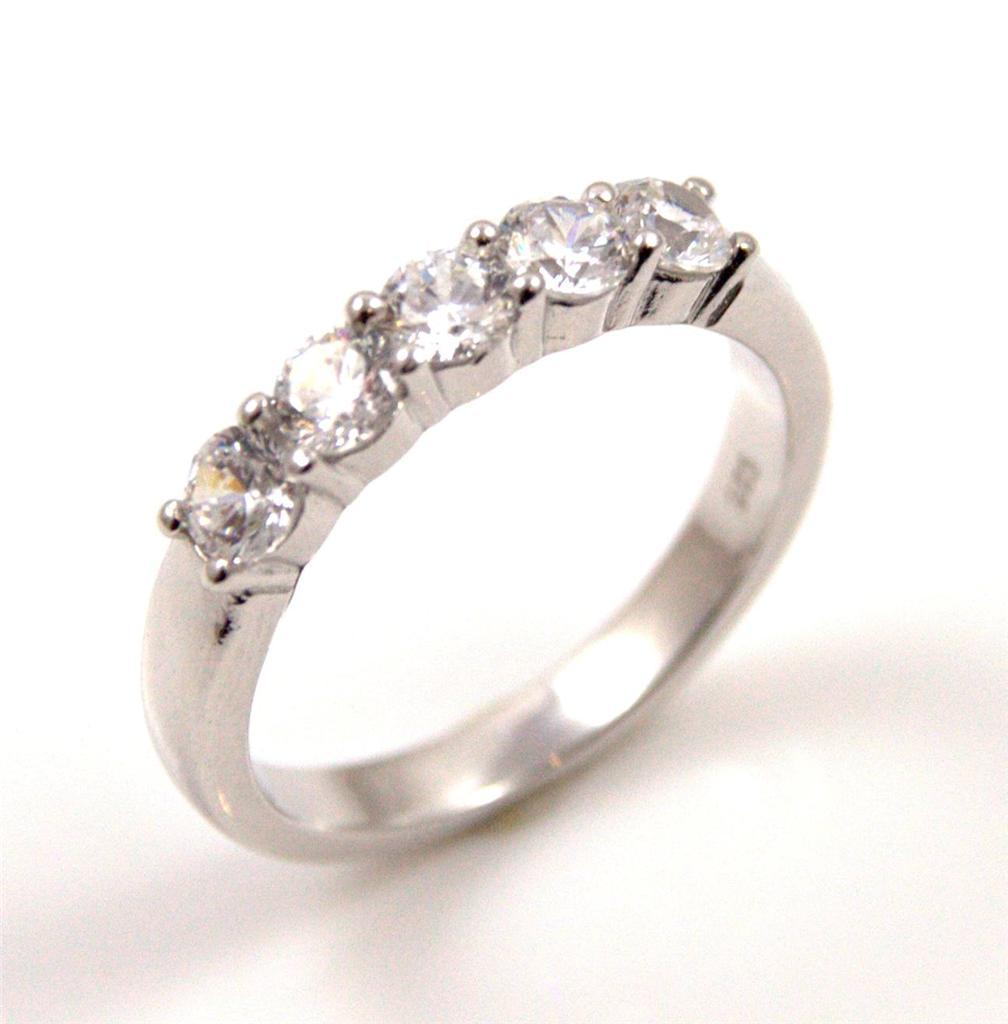 unique solid silver rhodium platinum eternity ring