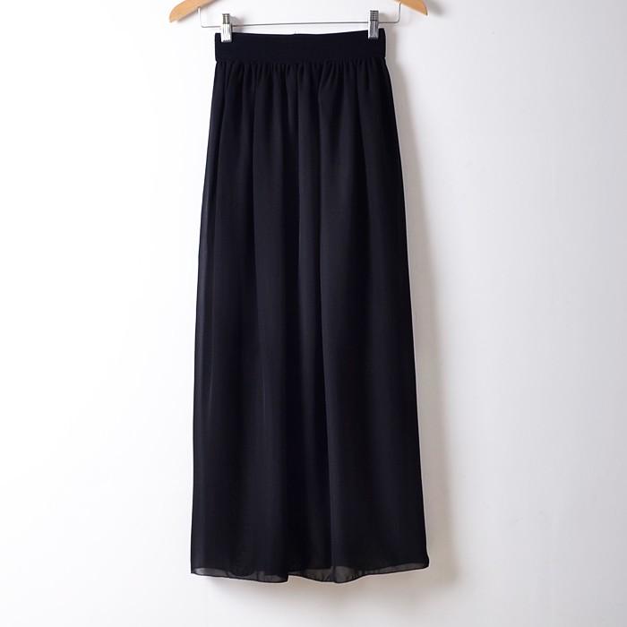 black chiffon pleated elastic waist maxi skirt vintage