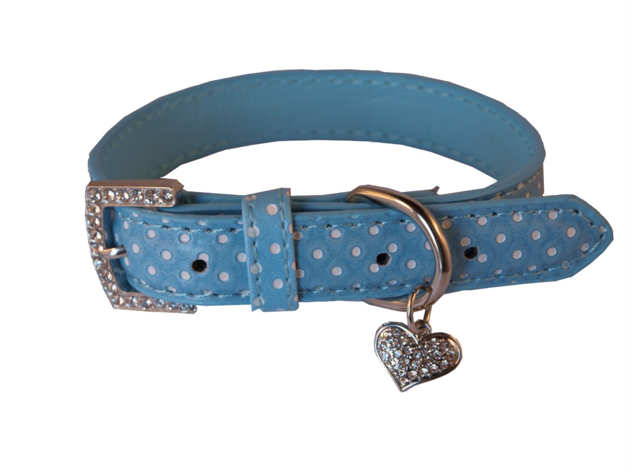 GORGEOUS-LIGHT-BLUE-POLKA-DOT-LEATHER-DOG-COLLAR-WITH-BLING-DIAMANTE-HEART-CHARM