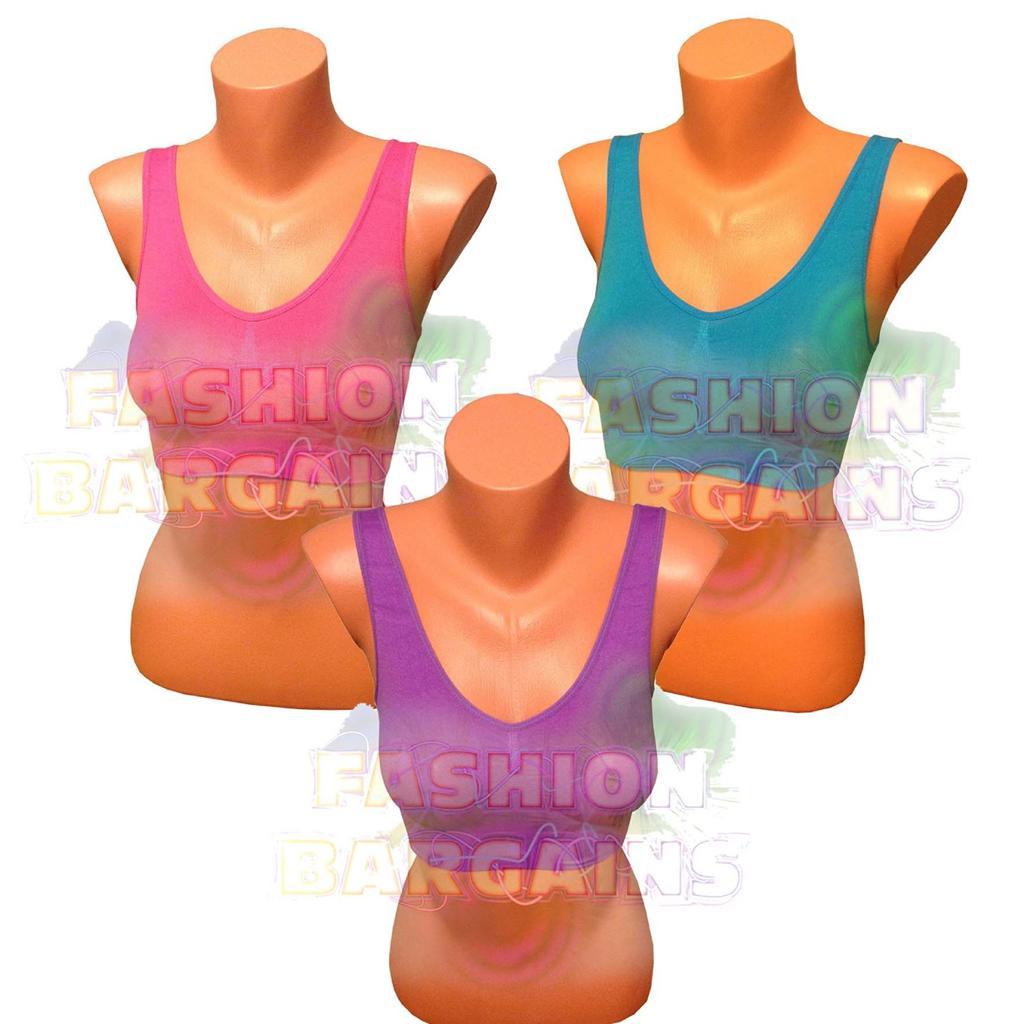 PACK-OF-3-Seamless-Sports-Style-Bras-Crop-Top-Vest-Comfort-Stretch-Shapewear-bra