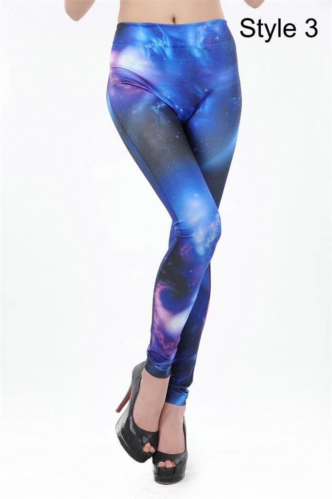 New funky galaxy print disco club wear cosmic length lycra leggings