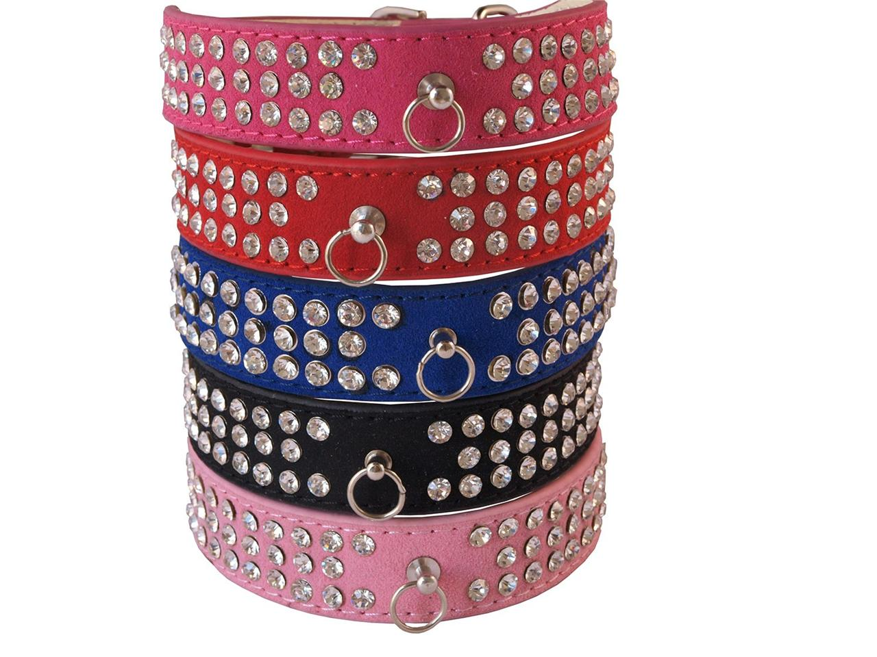 Suede-Leather-Dog-Collar-3-Row-Diamante-Crystal-Rhinestones-PINK-BLUE-RED-BLACK