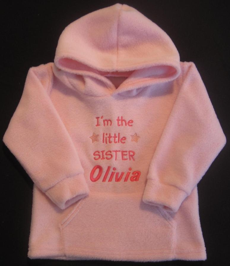 Im-The-Little-Sister-Personalised-Name-Embroidered-Baby-Girl-Hoodie-Top-Pink
