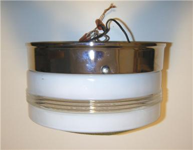 Vintage Chrome & White Glass Kitchen Ceiling Light Fixture Lighting