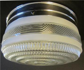Vintage white chrome glass kitchen ceiling light fixture for Retro bathroom light fixtures